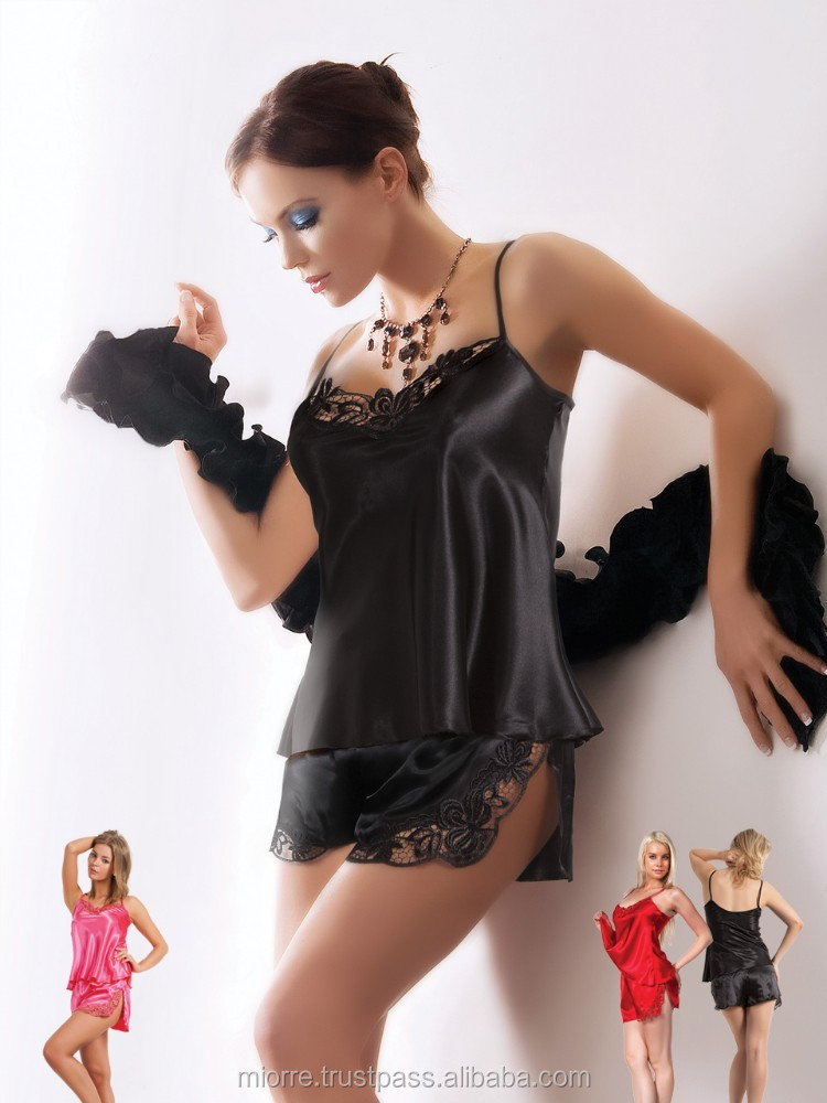 Miorre fashion black Satin lingerie with shorts