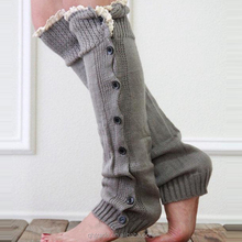 Boutique Socks Crochet Button Lace Long Leg Warmers for Girls Adults
