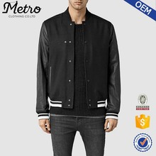 Custom Mens Plain College Varsity Bomber Jackets With leather Sleeves
