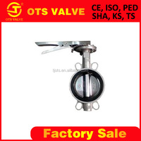 Bv-SY-209 wafer butterfly valve stainless steel SS304 SS316 body and disc rubber seat DN200 with hand lever