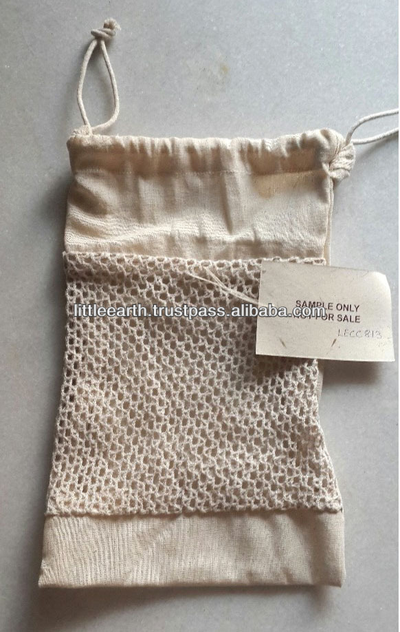 Stylish Cotton Net Mesh Bag, cotton pouch, small cotton drawstring bag