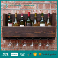 Wall Mounted Wood Red Wine Bottle Display Rack For Wholesale