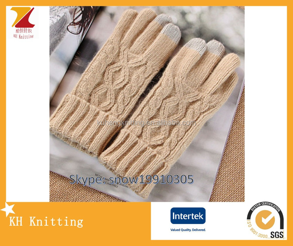 Ladies cable fashion wool touchscreen gloves for mobile phone
