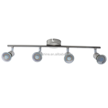brushed nickel finish adjustable beam 4 way GU10 3W metal bar ceiling LED spotlights fittings