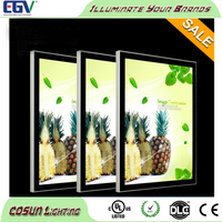 Double sided led lighted magnetic photo picture frame for advertising