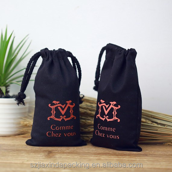 Mini Black Cotton Drawstring Bag For Gift