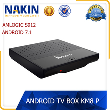 Good quality KM8 P amlogic s912 octa core 4k kd 17.1 google play store installed android 7.1 tv box