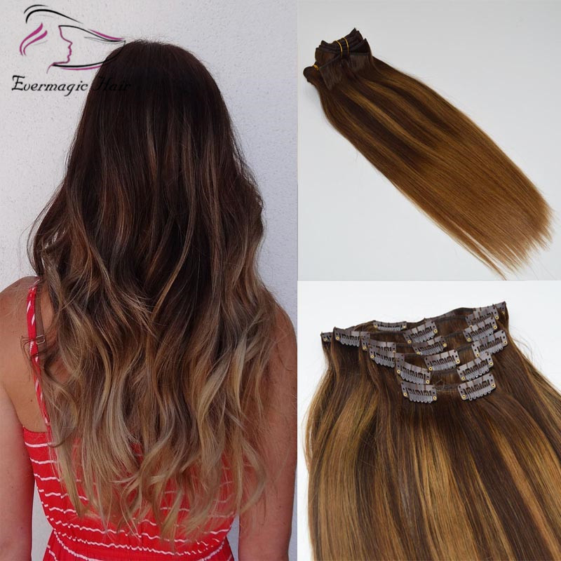 Double Drawn Clip In Hair European Remy Hair Balayage Ombre 2 6