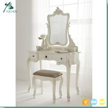 wooden dressing table with mirror and stool simple dressing table