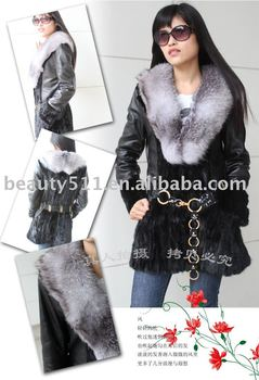 Luxury fashion mink fur coat with blue fox collar JL006