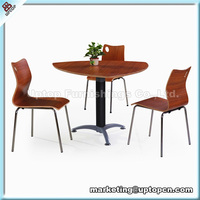 Classical laminate triangle corner table and chair with steel frame (SP-DST633)