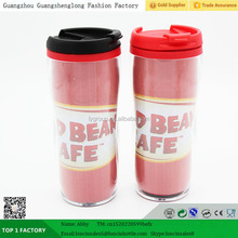 16oz double walled clear plastic travel mug with lid, paper insert plastic insulated coffee mugs