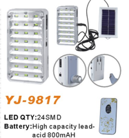 YAJIA led rechagreable led emergency lamp with AC/DC,solar charge E27 lampholder YJ-9817