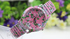 LADY FASHION JEWELRY FLOWER SILVER PINK WRIST BAND STRAP BRACELET QUARTZ WATCH
