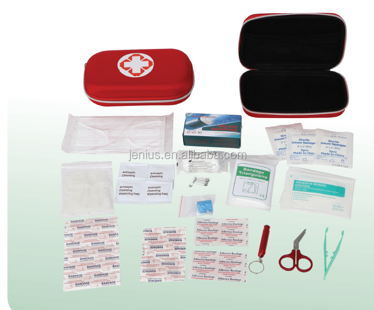 Top selling wholesale first aid kit car hard EVA case with health and safety products