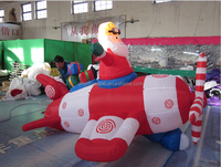 Inflatable Airblown Animated Pilot Santa In Airplane for sale