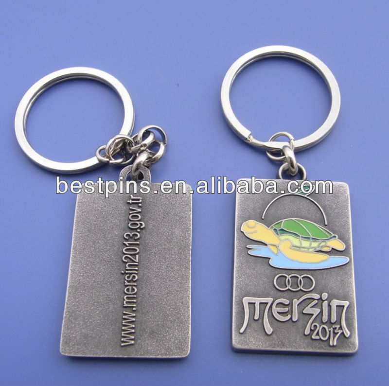 antiqe silver bronze embossed metal keychain