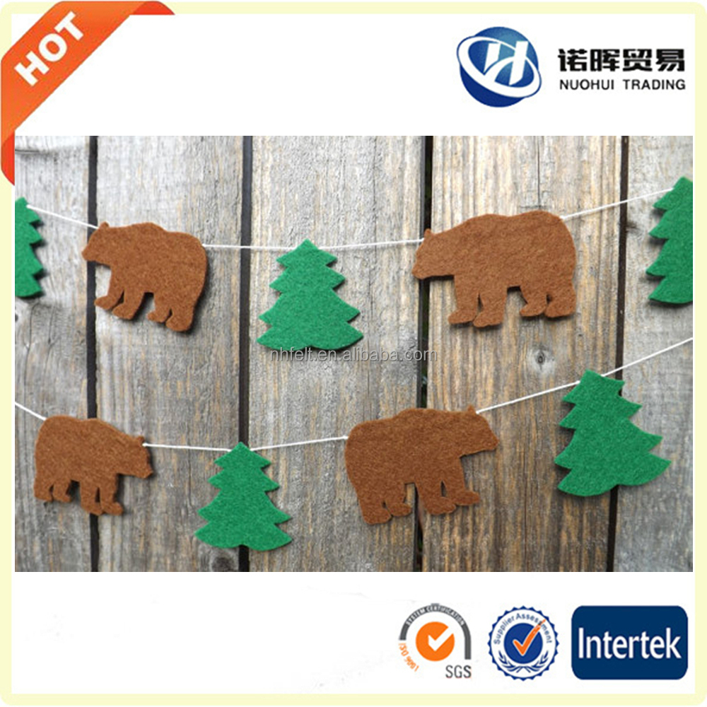 New style wholesale latest felt die cut Christmas tree hanging decoration ornaments