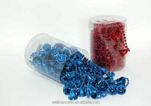 wholsale blue/red plastic mini bell and pearl christmas garland