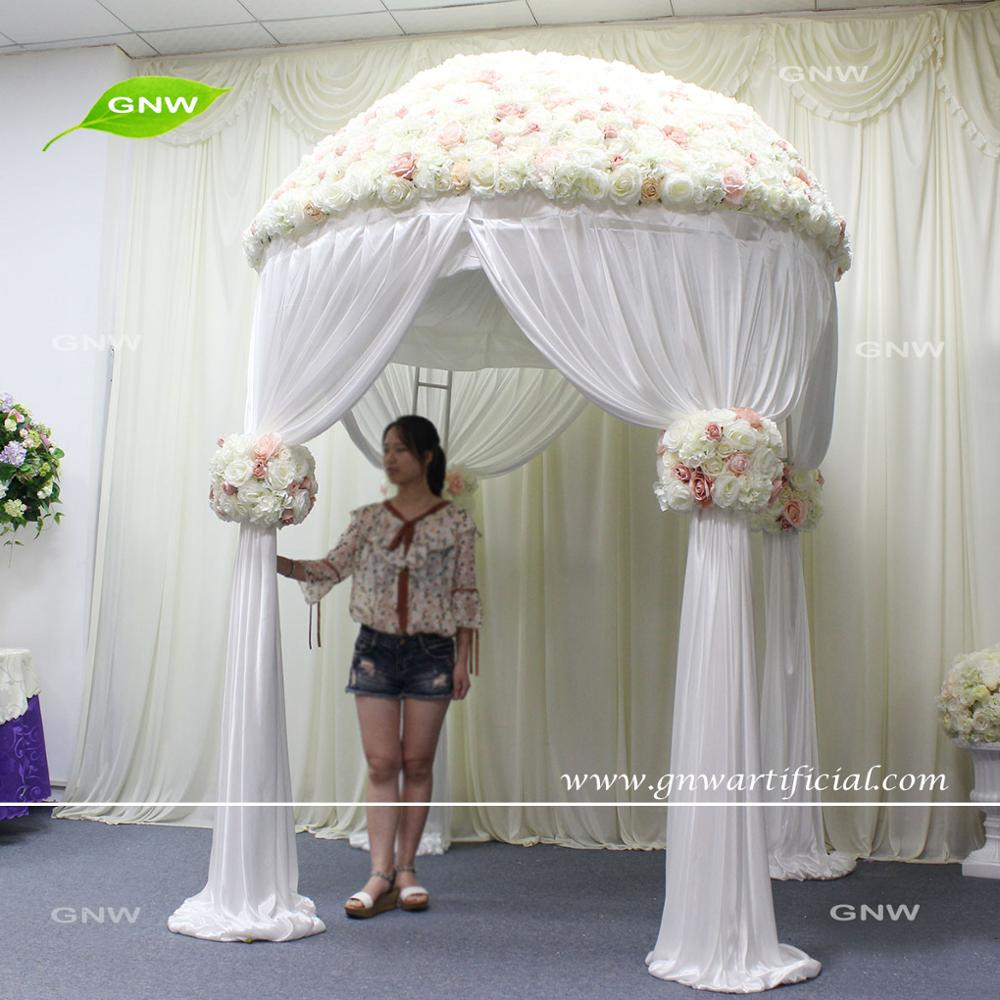 GNW FLWA171001-01 7ft penoy flower artificial rattan arch for holiday decoration