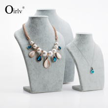Oirlv Wholesale Factory Custom Ice Velvet Jewelry Exhibitor for Showcase Counter Pendant Necklace Jewellery Holder