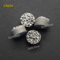 6mm Round Silver Natural Agate Druzy Stone For Jewelry