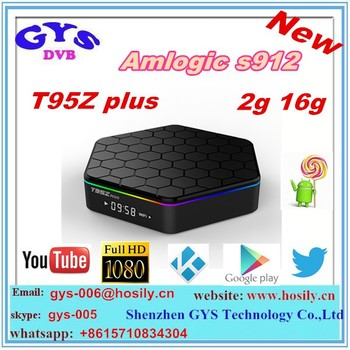 2016 best price T95Z plus 2g + 16g streaming media player amlogic s912 kodi android tv box 2g 16g 4k kodi 16.1