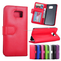 In stock Flip Plain PU Wallet Leather Phone Cases Bag Cover With ID Photoframe Stand Phone Case For Galaxy S6 G9200