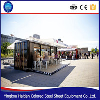 Hydralic container expandable hydralic opening Shipping Container Coffee Shop For Mobile Coffee Shop and food Kiosk booth