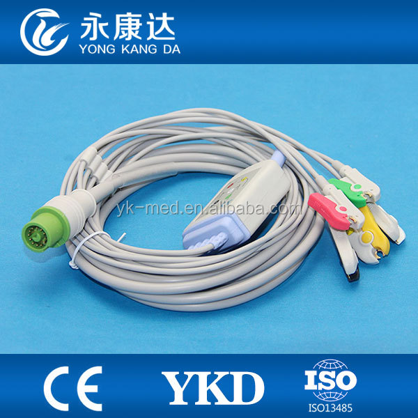 Fukuda Denshi ECG cable,5 leads,IEC medical devices CLIP type