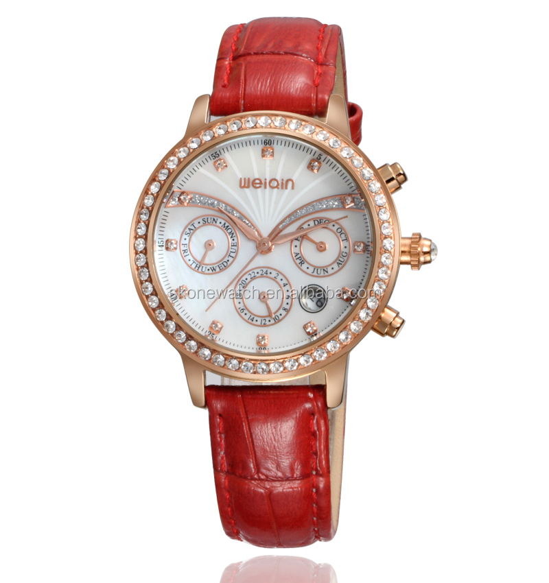 lady watch genuine leather strap luxury valentine quartz watches