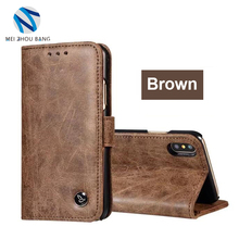Luxury Genuine Leather Wallet Case Flip Cover Mobile Phone Cases for iPhone X Bags With Card slot