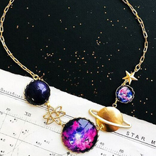 DY 2018 Galaxy Planet gold plated Environmentally friendly Romantic starry sky copper necklace
