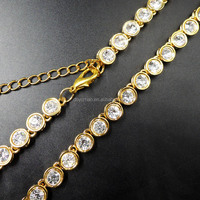 2016 hip hop clear heavy plated gold diamond ball necklace