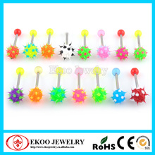 Barbell with Silicone Spikey Koosh Balls Unique Tongue Rings