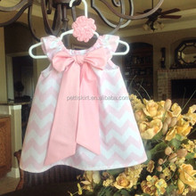 2015 latest products children cotton dresses Pink & White Chevron with Pink Bow for baby girls