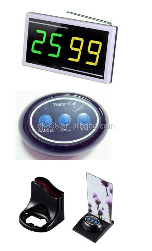 Black Color Table Call Bell Calling System With Menu Stand, Wireless Calling Paging System