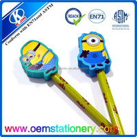 7'' school pencil/pencl with cartoon top /best quality wooden pencil