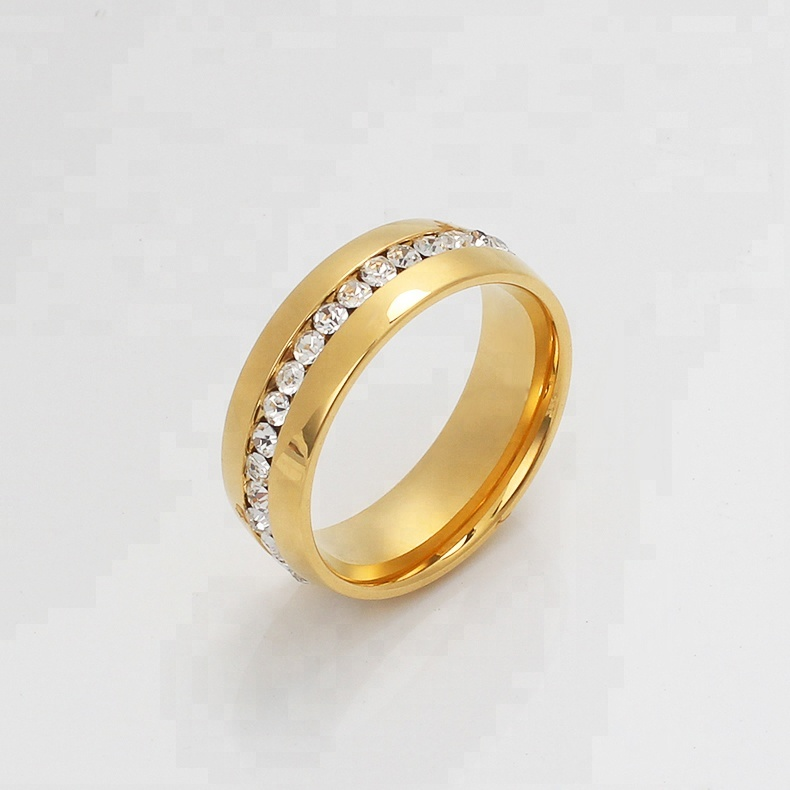 OUMI Titanium 7mm 18K Gold Plated Stainless Steel Wedding Ring Jewelry with Channel Set CZ Finger Ring For Couple