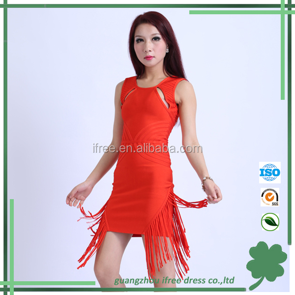 2014 fancy tassel women latin prom dress fashion bandage