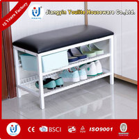Two layer white shoe rack bench