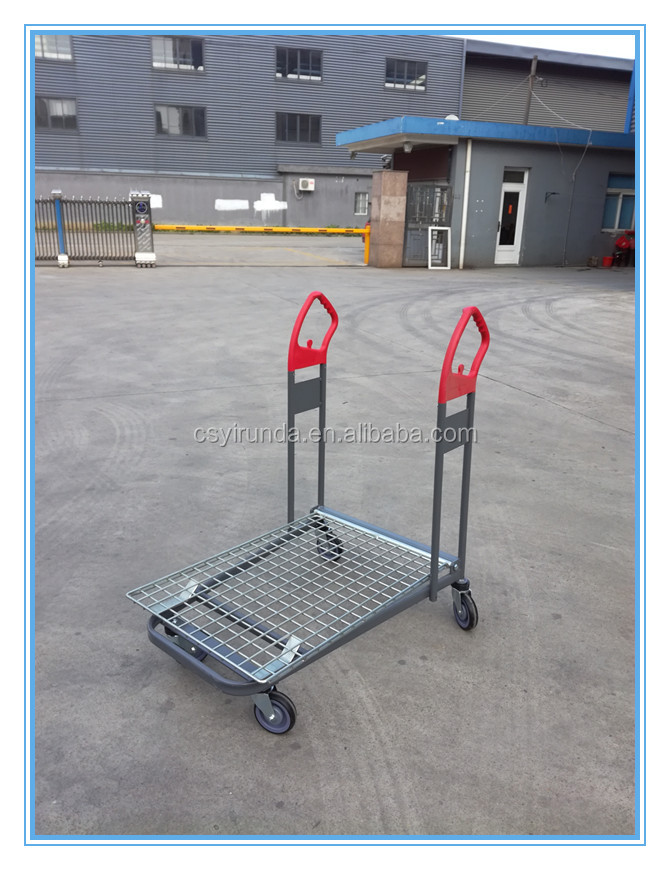 High loading metal equipment flat push cart trolley with good quality