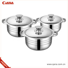 QANA new 6pcs stainless steel cooking pot set boiling stainless stock pot