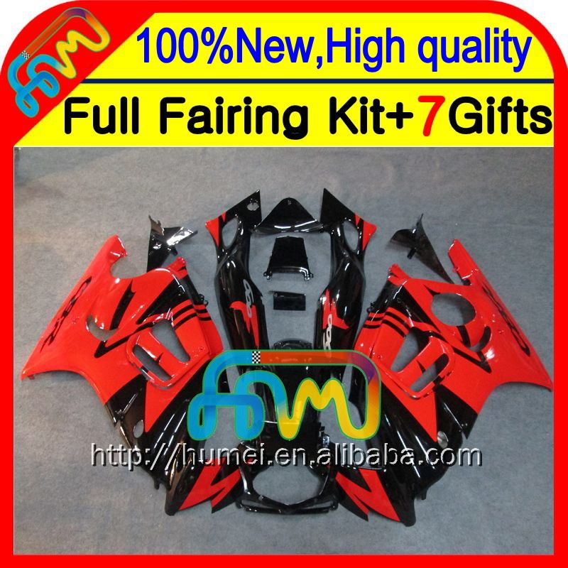 7gifts Red black For HONDA CBR600F3 97-98 CBR 600F3 CBR600 F3 20CL54 CBR 600 F3 1997 1998 CBR600RR Light red blk 97 98 Fairing