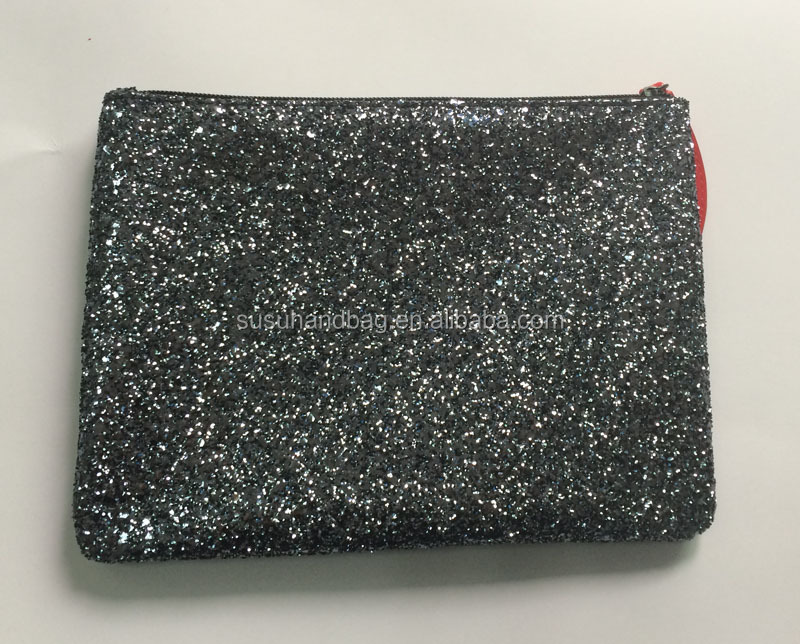 Newest Personalize Glitter Cosmetic Bags With Lip Pull