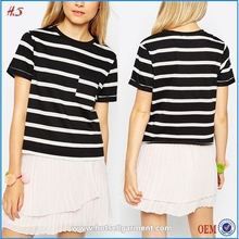 China T Shirt Factory Fashion Tri-blend Pocket T-shirt Women With Black and White Stripe