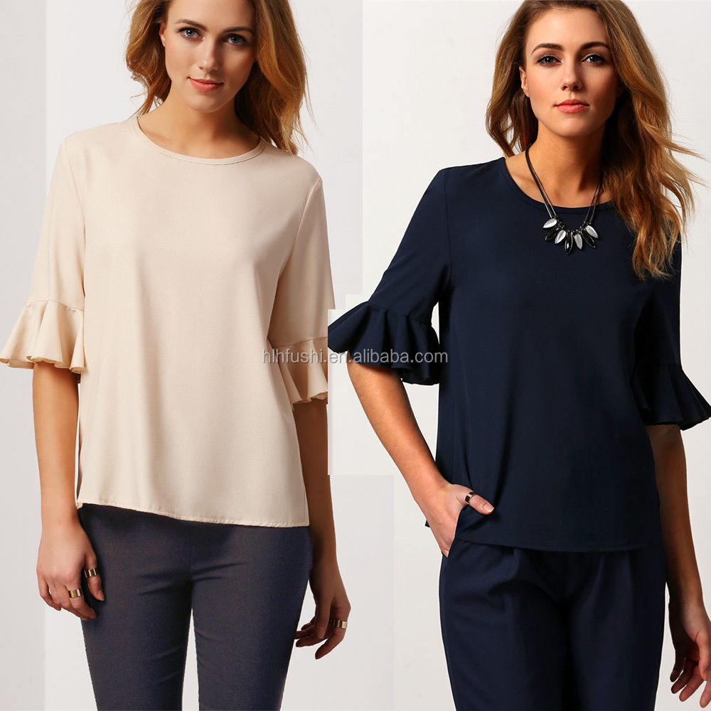 Guangzhou custom latest fashion clothing button back women blouse and chiffon top