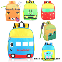 2017 hot sale cute school bus print cartoon toddler kids animal backpack