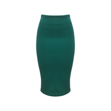 New Fashion Polyester Spandex Women Latest Design Sexy Office Wear Midi Length Long Back Zipper Green Color Tight Pencil Skirt