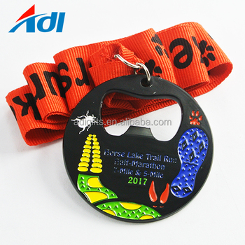 Factory price cheap custom soft enamel sports award bottle opener medals with ribbon